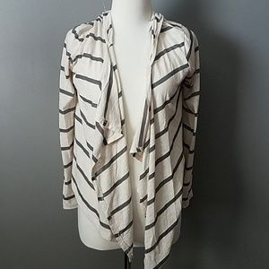 Striped Hoodied Handkerchief Cardigan-Small